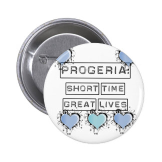 Progeria: Short Time, Great Lives, Blue Hearts 2 Inch Round Button