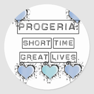 Progeria: Short Time, Great Lives, Blue Hearts Classic Round Sticker