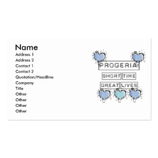 Progeria: Short Time, Great Lives, Blue Hearts Double-Sided Standard Business Cards (Pack Of 100)