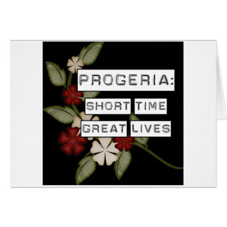 Progeria: Short Time, Great Lives, flower in black Greeting Card