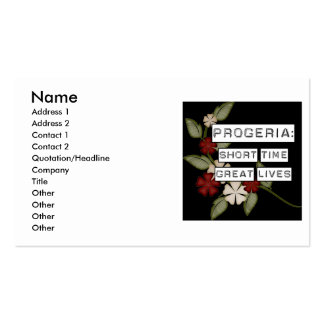 Progeria: Short Time, Great Lives, flower in black Double-Sided Standard Business Cards (Pack Of 100)