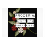 Progeria: Short Time, Great Lives, flower in black Announcements