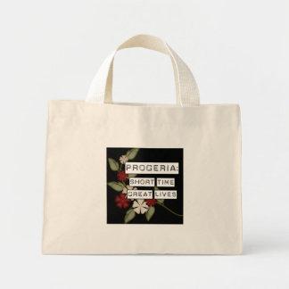 Progeria: Short Time, Great Lives, flower in black Mini Tote Bag