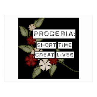 Progeria: Short Time, Great Lives, flower in black Postcard