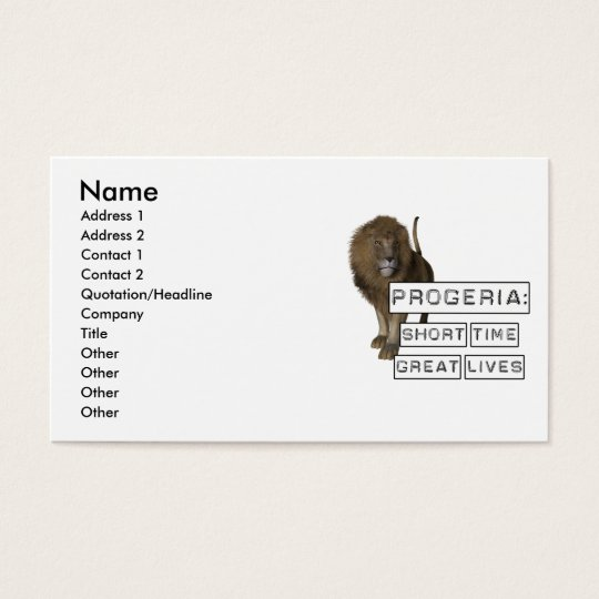 Progeria: Short Time Great Lives, with Lion Business Card