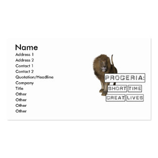 Progeria: Short Time Great Lives, with Lion Double-Sided Standard Business Cards (Pack Of 100)