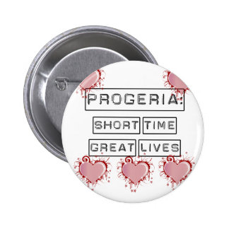 Progeria: Short Time, Great Lives with red hearts 2 Inch Round Button