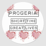 Progeria: Short Time, Great Lives with red hearts Classic Round Sticker