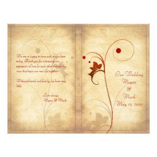 "Programa adaptable del boda del otoño folleto 8.5"" x 11"""
