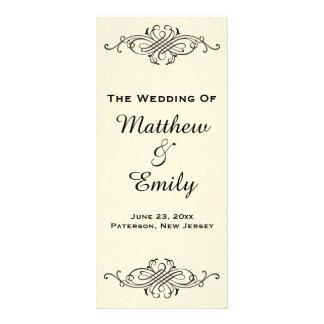 Programa adornado del boda del vintage tarjeta publicitaria a todo color
