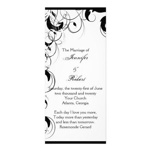 Programa afiligranado blanco y negro del boda del tarjeta publicitaria a todo color