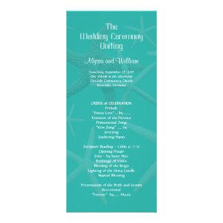 """Programa alto de la ceremonia de boda de playa de folleto publicitario 4"""" x 9"""""""