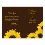 Programa amarillo del boda de Brown del girasol Flyer Personalizado
