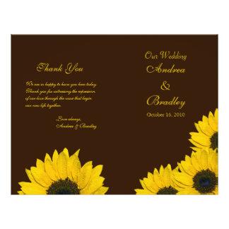 "Programa amarillo del boda de Brown del girasol Folleto 8.5"" X 11"""