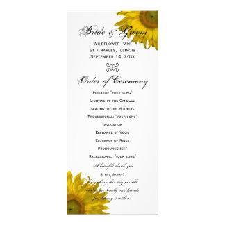 Programa amarillo del boda del girasol lonas publicitarias