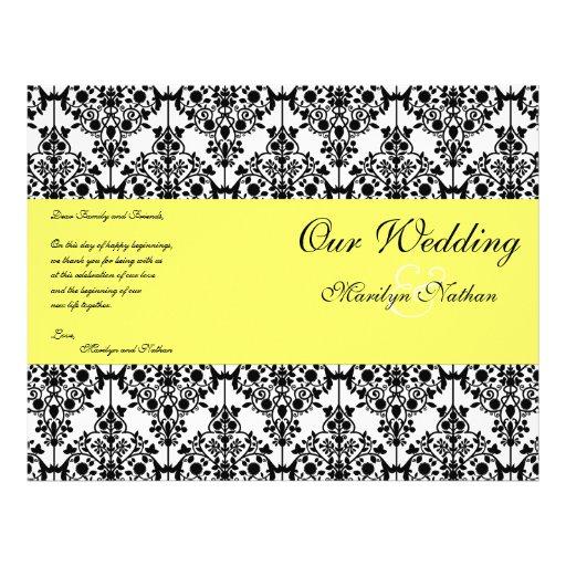 Programa amarillo, negro, y blanco del boda del da tarjeta publicitaria