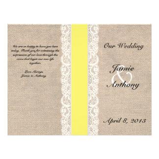 Programa amarillo rústico del boda de la cinta del folleto 21,6 x 28 cm
