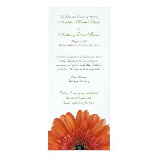 """Programa anaranjado del boda de la margarita del invitación 4"""" x 9.25"""""""