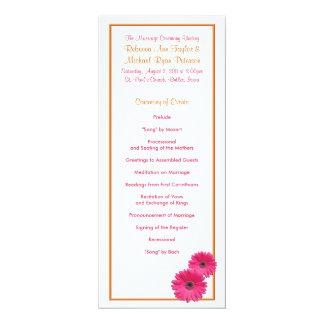 Programa anaranjado y rosado del boda de la invitación 10,1 x 23,5 cm