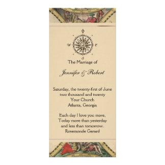 Programa antiguo del boda del mapa de Viejo Mundo Plantillas De Lonas