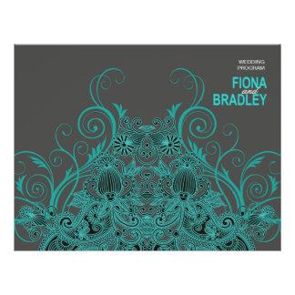 """Programa azteca del boda de Paisley - carbón de le Folleto 8.5"""" X 11"""""""