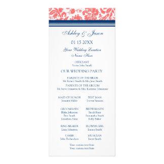 Programa azul coralino del boda del damasco lonas personalizadas