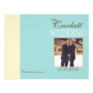 """Programa azul de la ceremonia de la foto del boda folleto 8.5"""" x 11"""""""