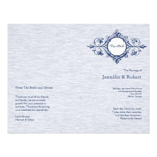"""Programa azul del boda de la elegancia del vintage folleto 8.5"""" x 11"""""""