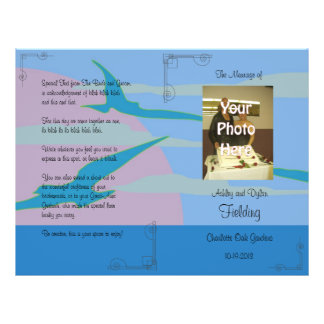 "Programa azul del boda de la foto del tema del folleto 8.5"" x 11"""