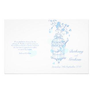 Programa azul del boda de los pájaros del amor flyer a todo color