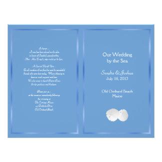 """Programa azul del boda de playa de los dólares de folleto 8.5"""" x 11"""""""