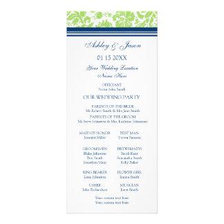Programa azul del boda del damasco de la cal tarjetas publicitarias a todo color