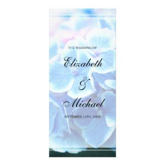 "Programa azul del boda del Hydrangea Folleto Publicitario 4"" X 9"""
