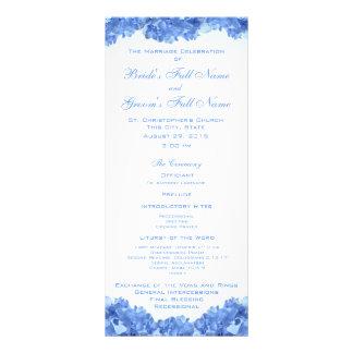 Programa azul del boda del Hydrangea Tarjeta Publicitaria Personalizada
