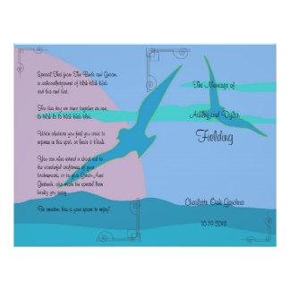 Programa azul del boda del tema del paraíso del oc flyer personalizado