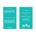 Programa azul del boda del verano de las palmeras  tarjeta publicitaria