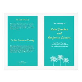 """Programa azul del boda del verano de las palmeras folleto 8.5"""" x 11"""""""