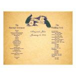 Programa azul del boda del vintage de los pavos re flyer personalizado