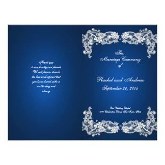 """Programa azul del boda del zafiro floral del cordó folleto 8.5"""" x 11"""""""