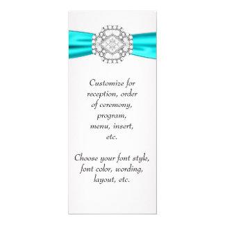 """Programa azul del menú del boda del trullo invitación 4"""" x 9.25"""""""