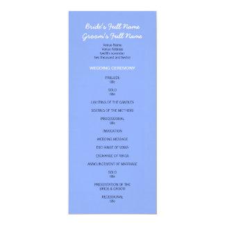 """Programa azul pintado del boda de los puntos invitación 4"""" x 9.25"""""""