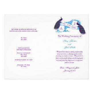 Programa azul púrpura del boda del pavo real del v tarjetones