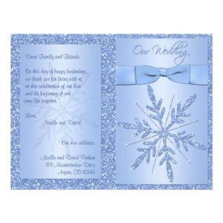 Programa azul reluciente del boda del copo de niev flyer personalizado