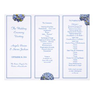 Programa azul triple de la ceremonia de boda membrete a diseño