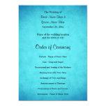 Programa azul y negro del boda comunicado personalizado