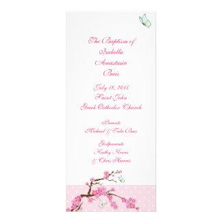 Programa bautismal 1/5 de la flor de cerezo tarjeta publicitaria personalizada