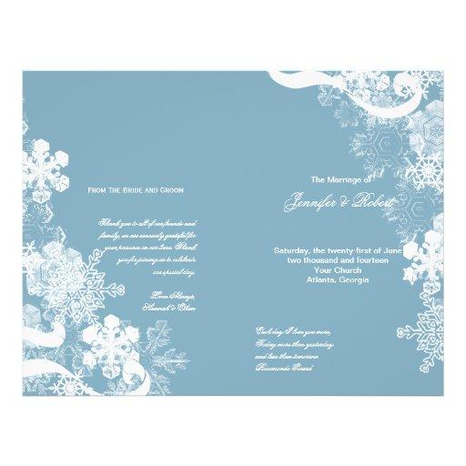 Programa blanco azul del boda del copo de nieve tarjetones