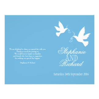 """Programa blanco del boda de la cinta azul de dos p folleto 8.5"""" x 11"""""""