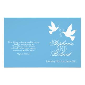 """Programa blanco del boda de la cinta azul de dos p folleto 5.5"""" x 8.5"""""""