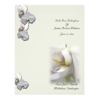 Programa blanco del boda de la orquídea flyer a todo color